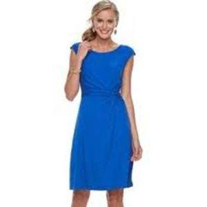 Dana Buchman Blue Twist Knot Fit & Flare Dress NWT